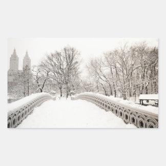 Central Park Winter Romance - Bow Bridge Rectangular Sticker