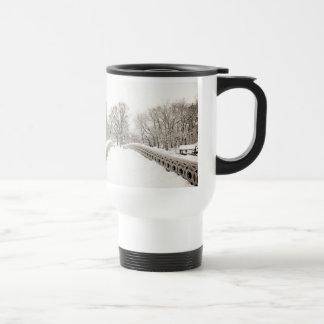 Central Park Winter Romance - Bow Bridge Travel Mug