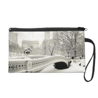 Central Park Winter - Snow on Bow Bridge Wristlet Purse