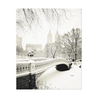 Central Park Winter - Snow on Bow Bridge Canvas Print