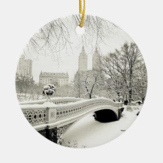 Central Park Winter - Snow on Bow Bridge Ceramic Ornament