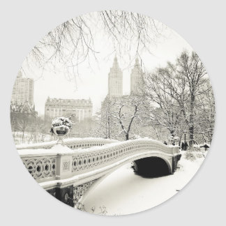 Central Park Winter - Snow on Bow Bridge Classic Round Sticker