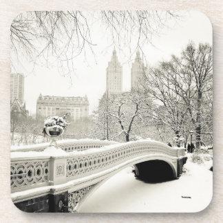 Central Park Winter - Snow on Bow Bridge Coaster