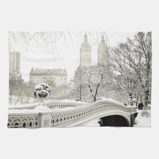 Central Park Winter - Snow on Bow Bridge Hand Towel