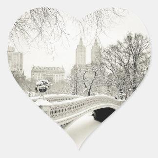 Central Park Winter - Snow on Bow Bridge Heart Sticker