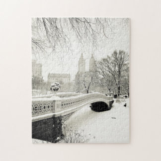 Central Park Winter - Snow on Bow Bridge Jigsaw Puzzle