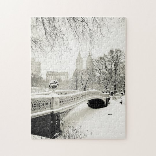 Central Park Winter - Snow on Bow Bridge Jigsaw Puzzle