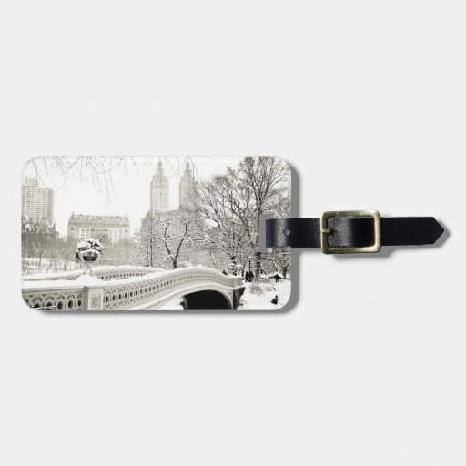 Central Park Winter - Snow on Bow Bridge Tags For Bags