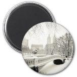 Central Park Winter - Snow on Bow Bridge Fridge Magnets