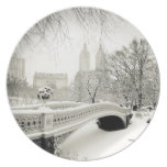 Central Park Winter - Snow on Bow Bridge Melamine Plate
