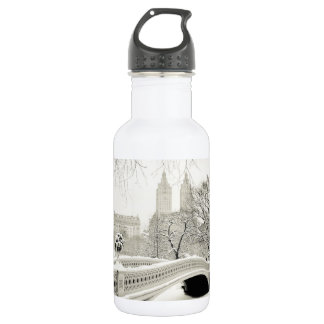 Central Park Winter - Snow on Bow Bridge 18oz Water Bottle