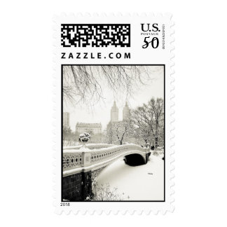 Central Park Winter - Snow on Bow Bridge Postage