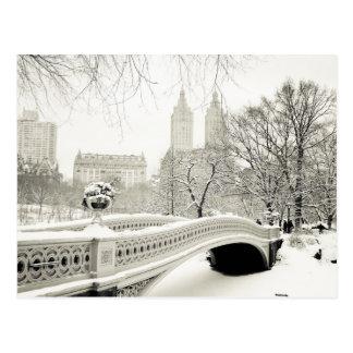 Central Park Winter - Snow on Bow Bridge Postcard