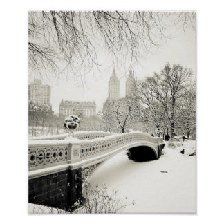 Central Park Winter - Snow on Bow Bridge Poster