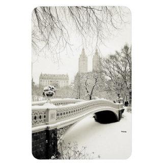 Central Park Winter - Snow on Bow Bridge Rectangular Photo Magnet