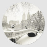 Central Park Winter - Snow on Bow Bridge Classic Round Sticker