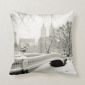 Central Park Winter - Snow on Bow Bridge Throw Pillow