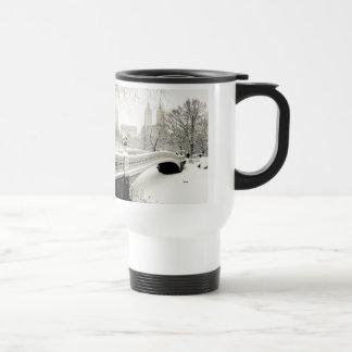 Central Park Winter - Snow on Bow Bridge Travel Mug