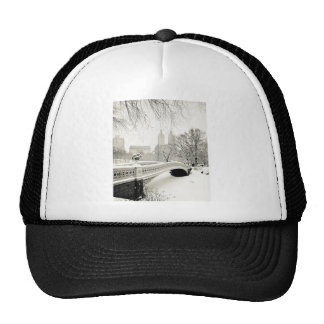 Central Park Winter - Snow on Bow Bridge Trucker Hat