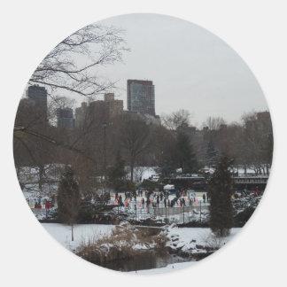 Central Park Wollman Ice Skating Rink Round Sticker