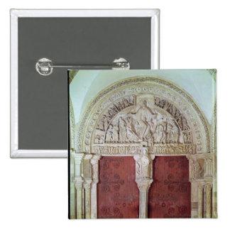 Central Portal Narthex Church Sainte-Madelaine 2 Inch Square Button