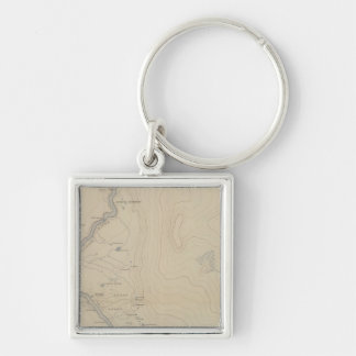 Central Portion of Upper Geyser Basin Silver-Colored Square Keychain