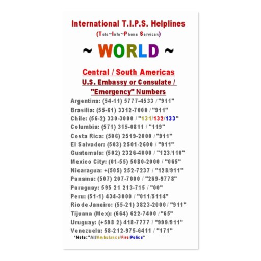 Central / South Americas T.I.P.S. Helplines Double-Sided Standard Business Cards (Pack Of 100)