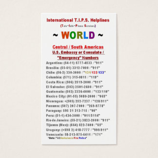 Central / South Americas T.I.P.S. Helplines Business Card