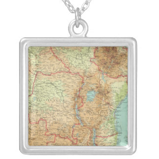Central & Southern Africa with shipping routes Silver Plated Necklace