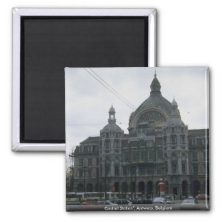 """Central Station"""", Antwerp, Belgium 2 Inch Square Magnet"""