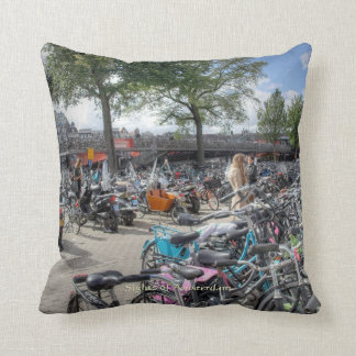 Central Station Bicycle Park, Sights of Amsterdam Throw Pillow