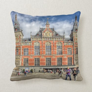 Central Station, Sights of Amsterdam Throw Pillows
