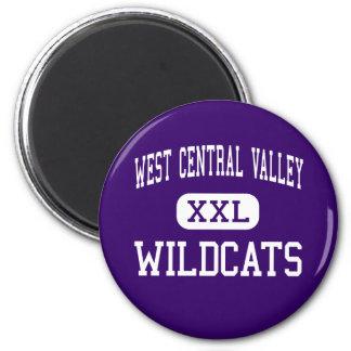 Central Valley del oeste - gatos monteses - alto - Imán Redondo 5 Cm