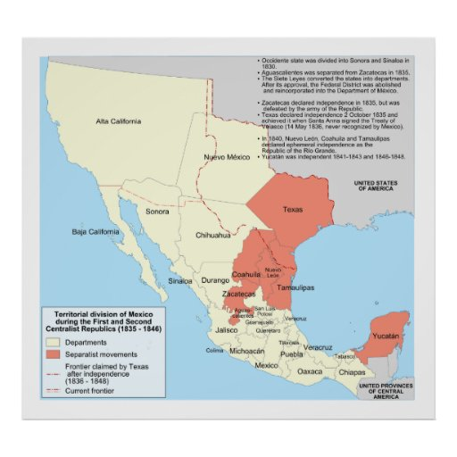 Centralist Republic of Mexico Territorial Map Poster
