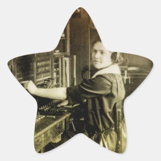 Centralita telefónica del vintage pegatinas forma de estrella