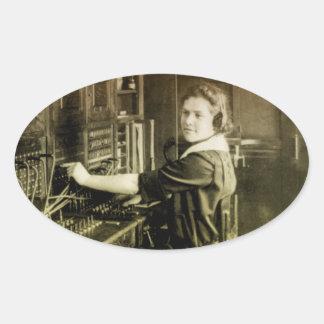 Centralita telefónica del vintage calcomanía de óval