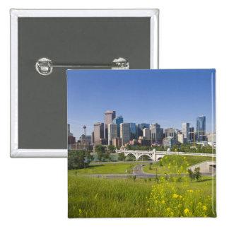 Centre St Bridge and Downtown Calgary, Alberta, 2 2 Inch Square Button