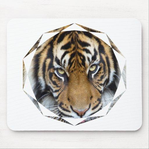 Céntrese en meta y rey del tigre de Sumatran del é Mouse Pads