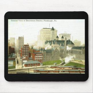 Céntrico, vintage 1915 de Pittsburgh Mousepads