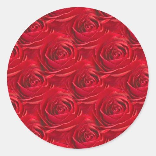 Centro abstracto del papel pintado del rosa rojo pegatina redonda