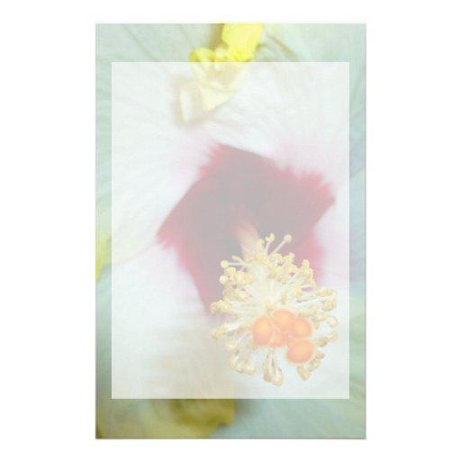 Centro amarillo del rojo del hibisco w papelería personalizada