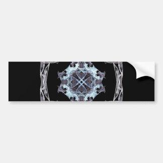 Centro azul del arte del fractal con el marco etiqueta de parachoque