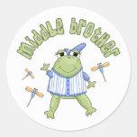 Centro Brother de Froggie Pegatinas Redondas