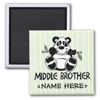 Centro Brother del muchacho de la panda Imán Cuadrado