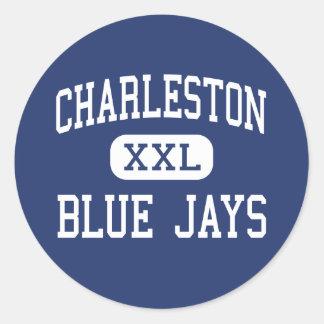 Centro Charleston de los arrendajos azules de Pegatina Redonda
