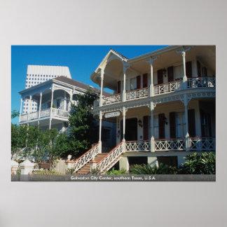 Centro de ciudad de Galveston, Tejas meridional, l Poster