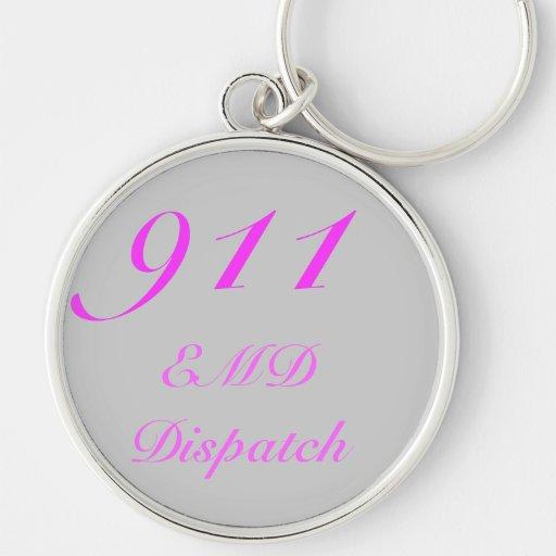 Centro de envío 911 llavero redondo plateado