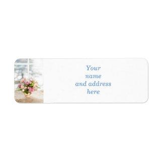 Centro de flores etiqueta de remite