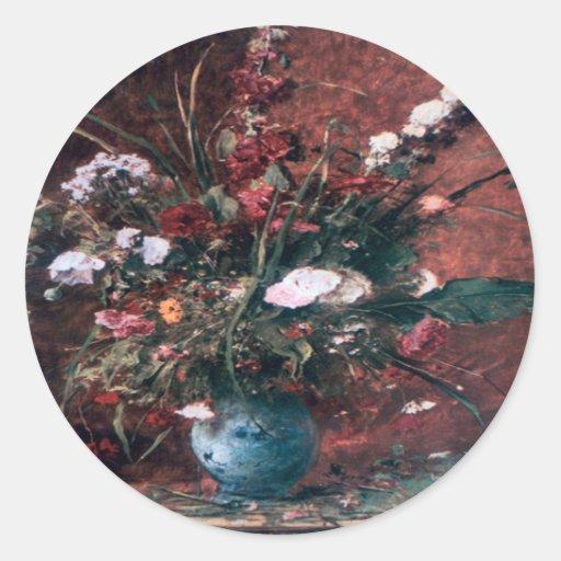 Centro de flores romántico del vintage pegatina redonda
