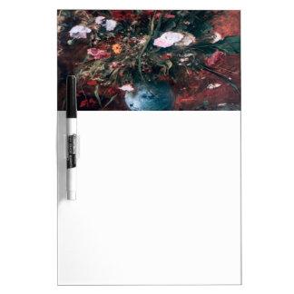 Centro de flores romántico del vintage pizarra blanca